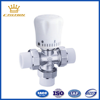 Brass ppr manual straight tee temperature 3 way control valve