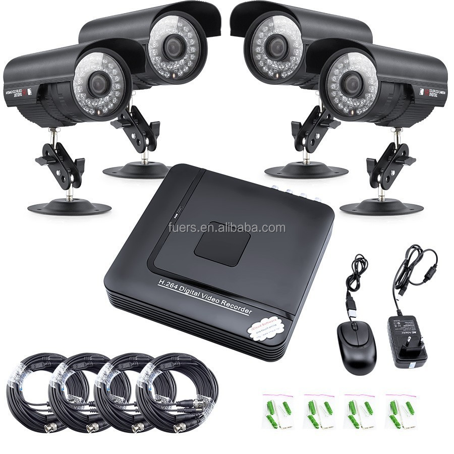 New CCTV DVR kit 4x480TVL CCD outdoor Home Security CCTV Camera NTSC, CCTV IP Camera