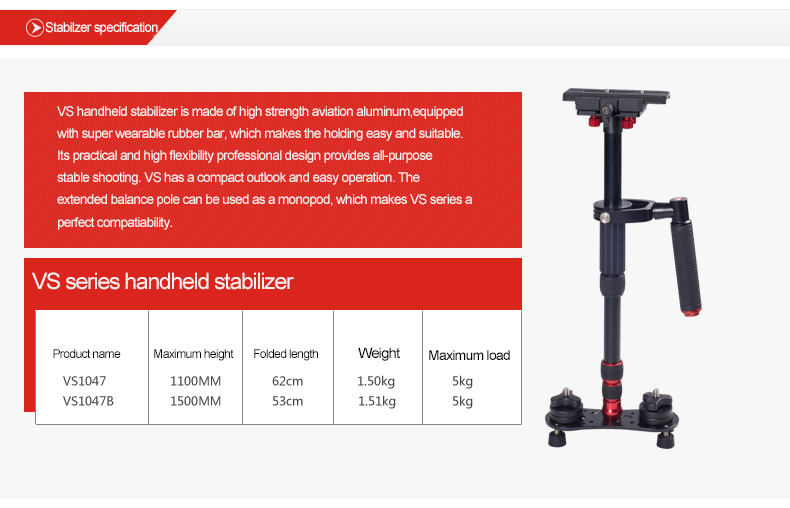 KINGJOY Professional DSLR Camera Steadicam Stabilizer VS1047B for Video Studio Shooting