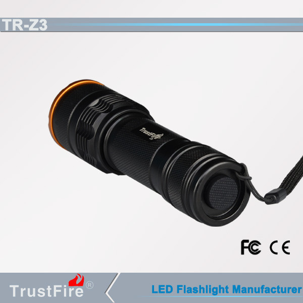 Telescopic light TrustFire led flashlight 10000 lumen Z3 zoom-able Led flashlight,Focusable Low price Led flashlight torch light