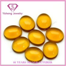 Lab Created Good Quality Oval Shape Topaz Cabochon Glass Gems