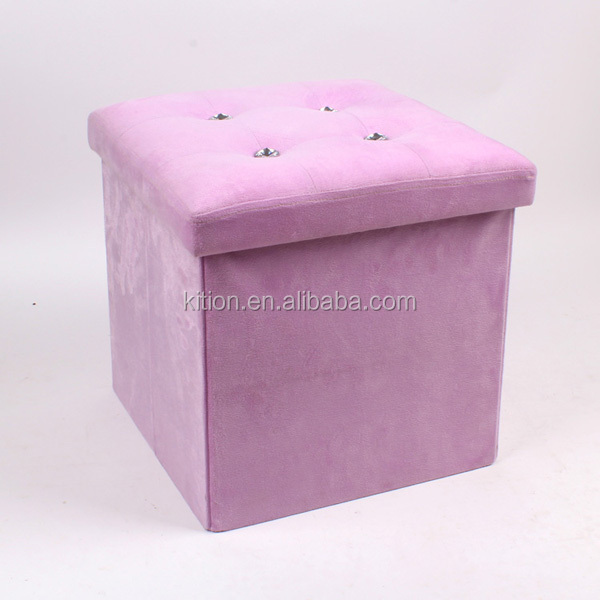 Velvet foldable storage ottoman with diamond storage pouf oem