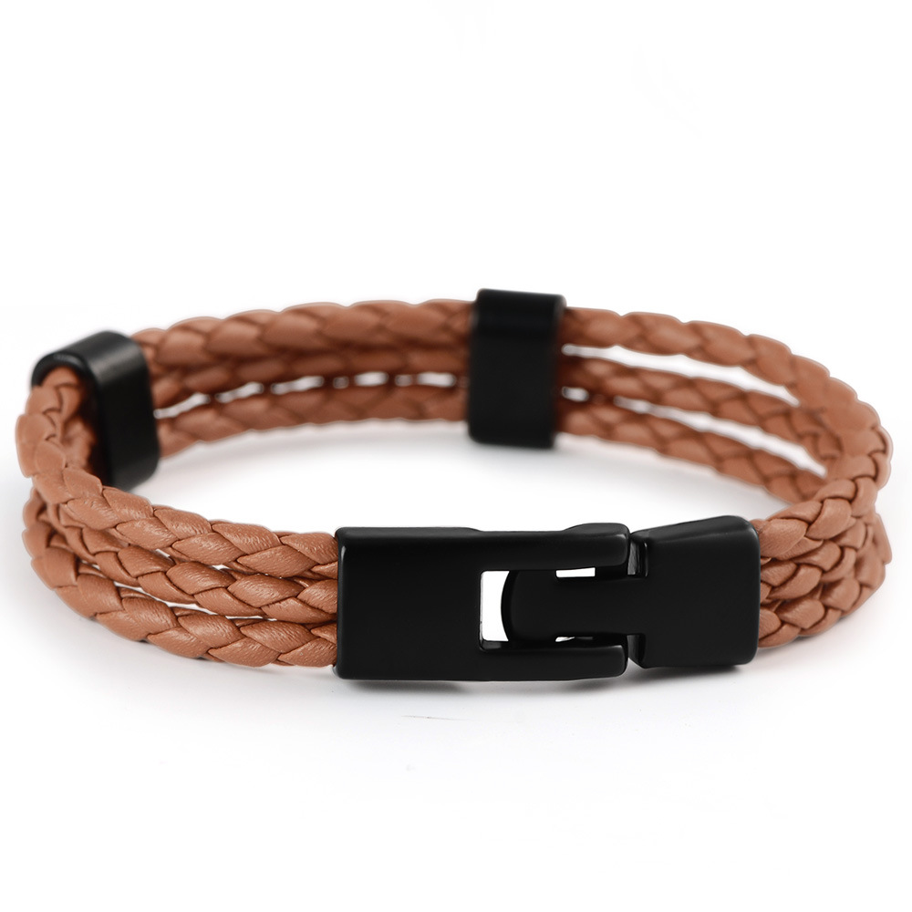 Fashion Jewelry 2017 Mens Accessories Mix Colour Stainless Steel Custom Logo Braided Leather Bracelet
