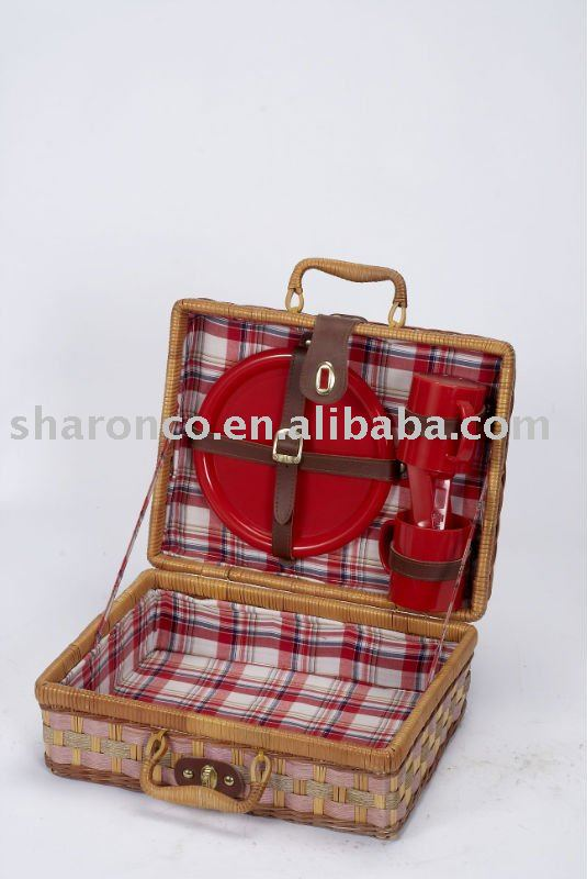 Picnic basket out from awn and bamboo for 2 with pp cutlery