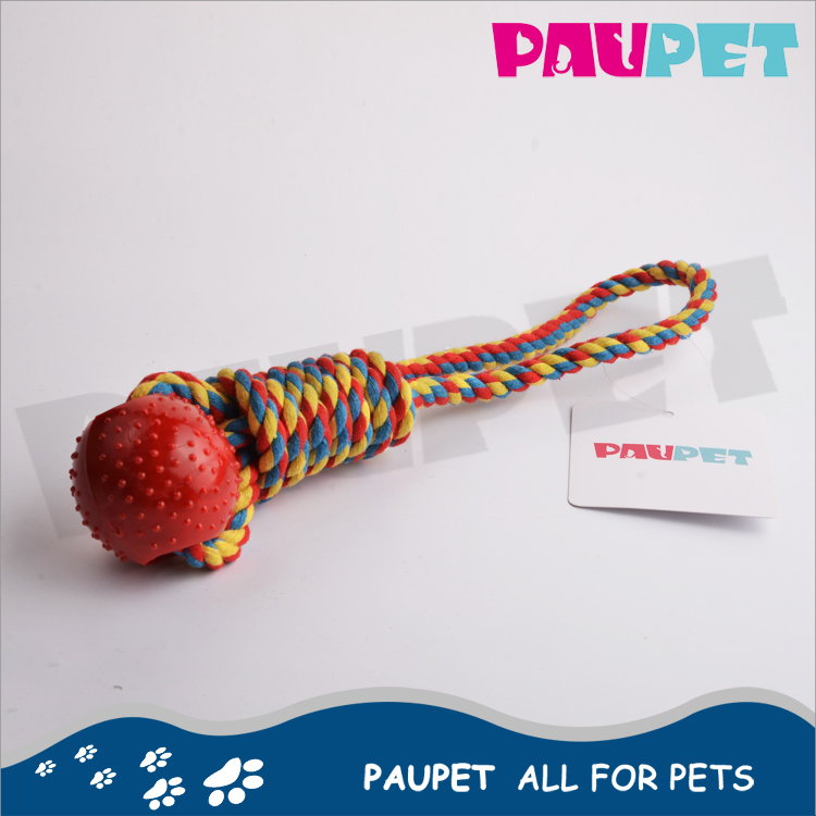Hot sale chew durable pet product of knot rope rubber ball dog toy
