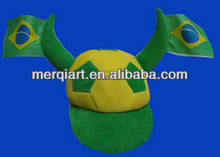 2014 world cup Brazil football visor cap with ox horn and flag