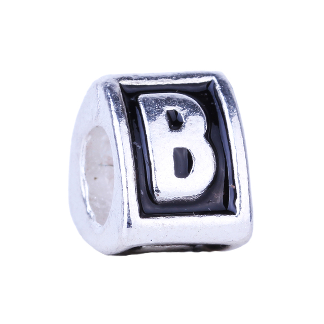 "1piece English Alphabet Letters ""A"" to ""Z"" Antique Silver Plated Beads Charms fit DIY Pandora Jewelry Making Bracelet Bangle"