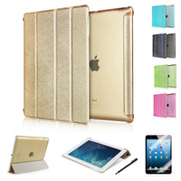 Luxury Silk Leather Stand Cover +Matte Back Case for ipad air 2/For ipad 2 3 4/For ipad mini 1 2 3 case