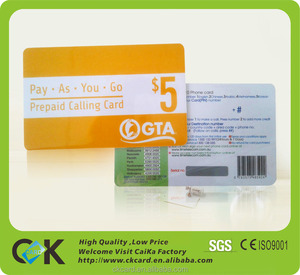 Standard quality prepaid mobile scratch card