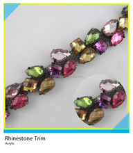 Acrylic Rhinestone Trimming Sew on Mix Color Stone Trim for Garment Decoration