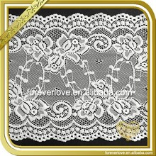 Crocheted embroidery elastic lingerie stretch lace fabric for headbands FLL-075