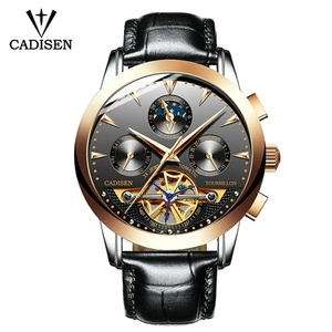 Cadisen Top Luxury Brand Skeleton Automatic Mechanical Leather Fashion Business Waterproof Men Watch