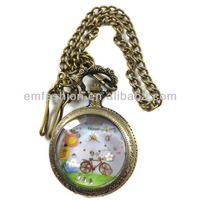 Fashion New Hot Sale Bicycle Flower Quartz Alloy Decorative Pocket Watch