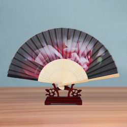 Cheap Advertising Custom Printed Bamboo Silk Fabric Folding Hand Fans PDZ-101