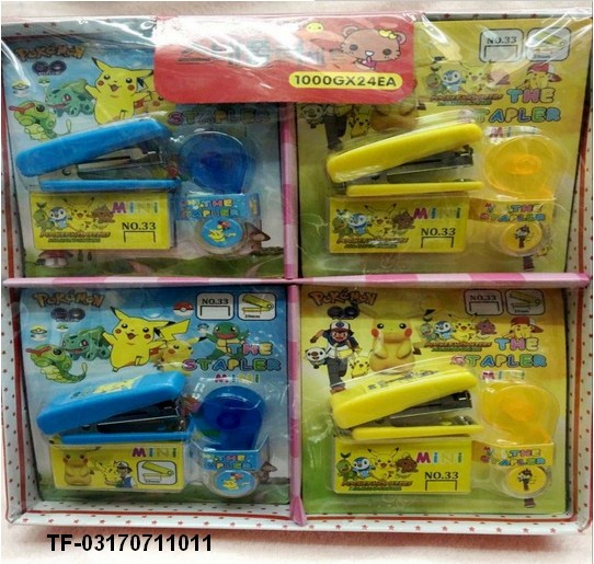 Children Manual Mini Picachu Stapler Set Paper Binding Binder Stationery Office School Supplies set