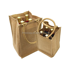 Hot Sales Eco-friendly Raw Jute Tote Wine Bag for 4 bottles