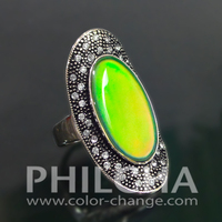 Boho Gypsy Mood Ring Antique Silver Color With Rhinestones Multi Color Change Costume Jewelry