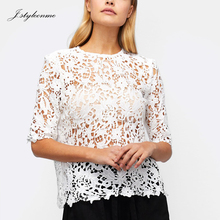 OEM Women Clothes 2018 Structured Fit Summer Korean White Guipure Lace Blouse