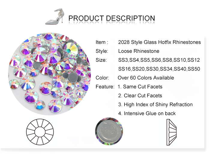Wholesale Hot Sale Glass Hotfix Stone A4 Quality Hot Fix Crystal Rhinestones With Intensive Glue