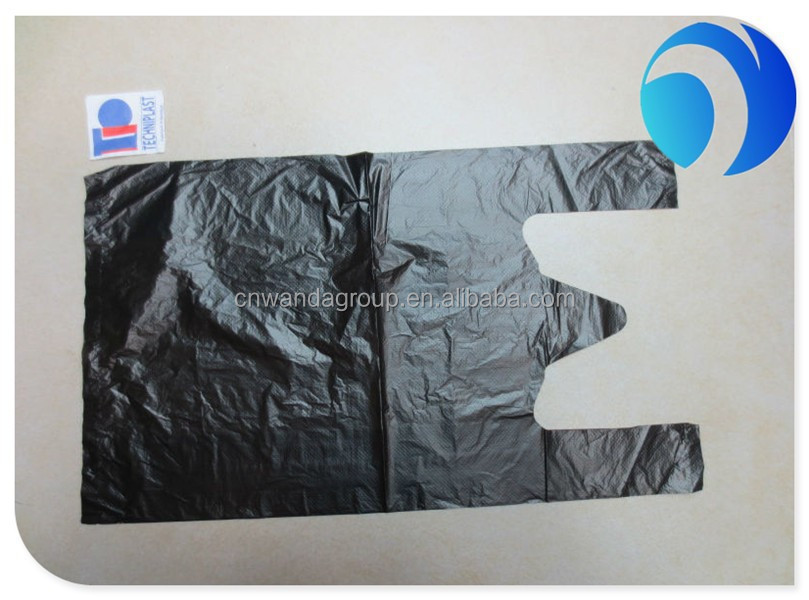 2016 high quality Cheap Recyle HDPE Black T-shirt Bag