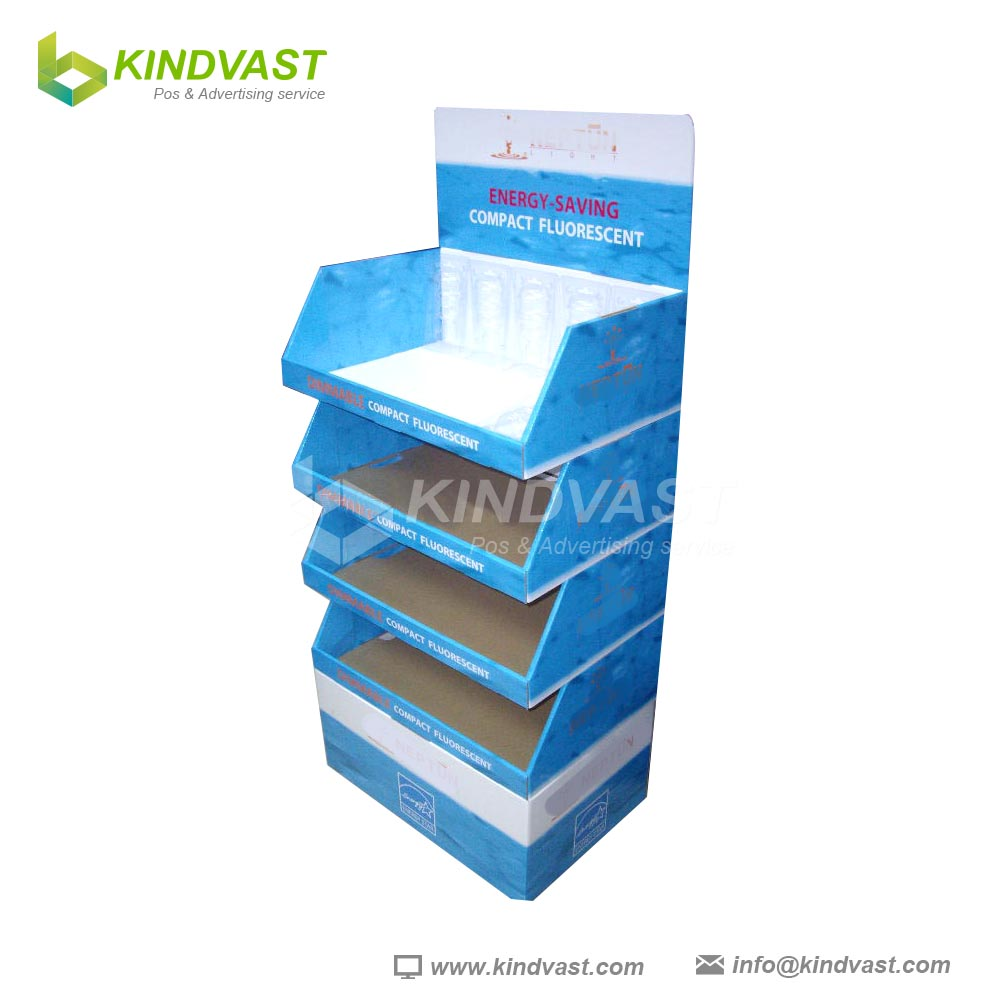 stack piled cardboard heavy duty counter display and floor display shelves