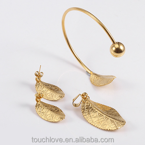 S1097 Leaf Design Gold Plated jewelry, Stainless Steel jewelry,joyas en acero inoxidable