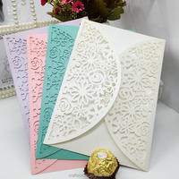 floral wedding card with laser cut paper