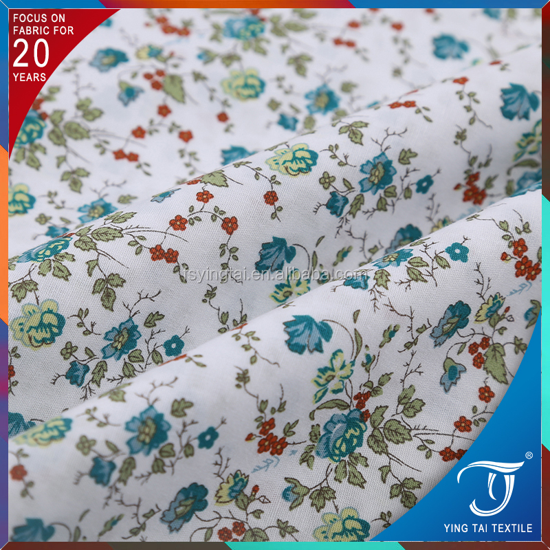 China supplier custom printed cotton fabric 40S poplin fabric for garment