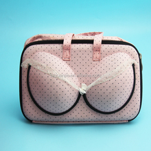 Pink lace EVA bra case bag to travel for lady