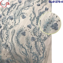2017 Good Quality Silver Embroidery 3D Lace Fabric Graceful Beaded Lace Fabric With Rhinestone CL61270
