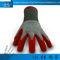 QL Palm coated anti oil and slip rubber protective safety gloves