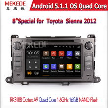 "8"" 2 Din HD 1024x600 Quad Core Android 5.1.1 Auto PC Car DVD Player GPS For Toyota Sienna 2009- 2013 Stereo Radio"