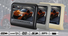 9 Inch Wide Screen Headrest Video Display Car Comfortable Headrest with Built-in DVD Player, Wireless game, USB SD