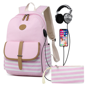 In stock high quality stripe canvas backpack back pack with small zipper pocket, backpack with USB charger, earphone port