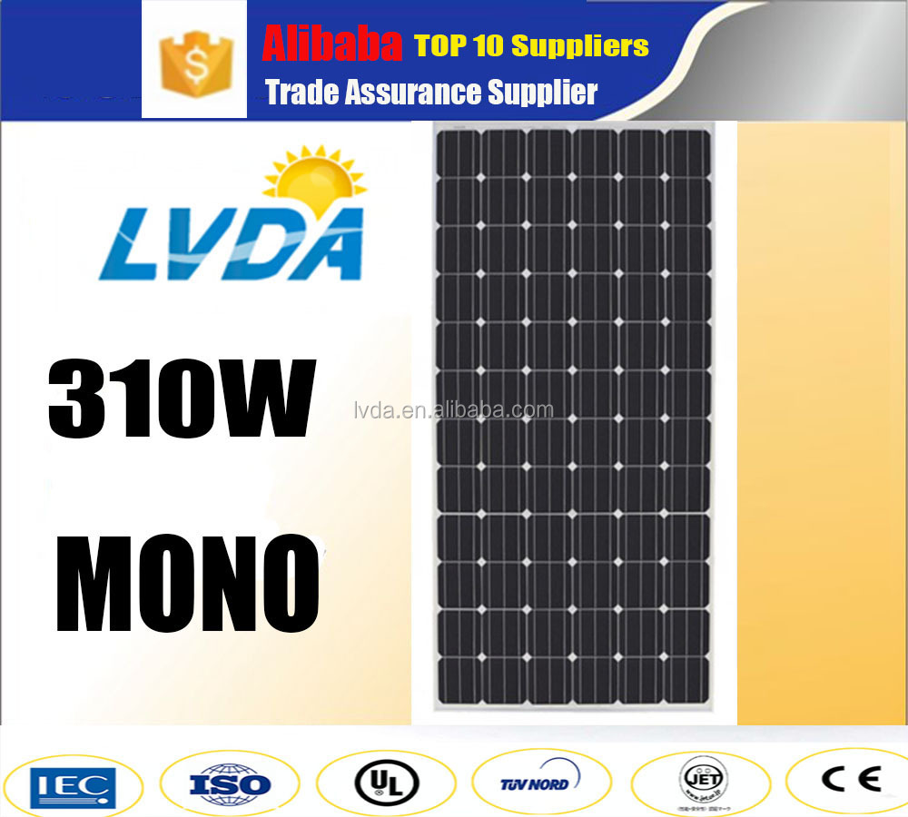 Japan market A grade mono crystalline silicon 72 cells 300 watt 310 watt solar photovoltaic panel module with CE/TUV