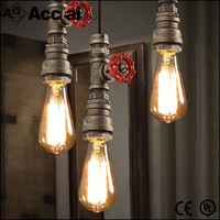 iron material loft retro industrial water pipe pendant light for bar and restaurant