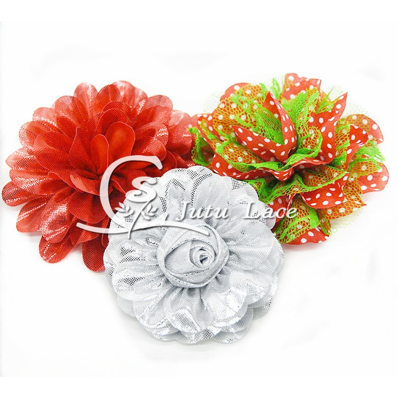 3.75'' ' lace chiffon flower for chirstmas baby hair accessories