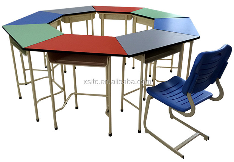 Colorful trapezoid school furniture for group or cluster,classroom desk chair, wood classroom furniture