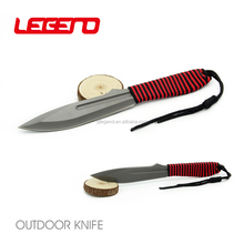 HK274 High quality sand blasted fixed blade combat tactical knife survival hunting camping knife with rescue rope handle