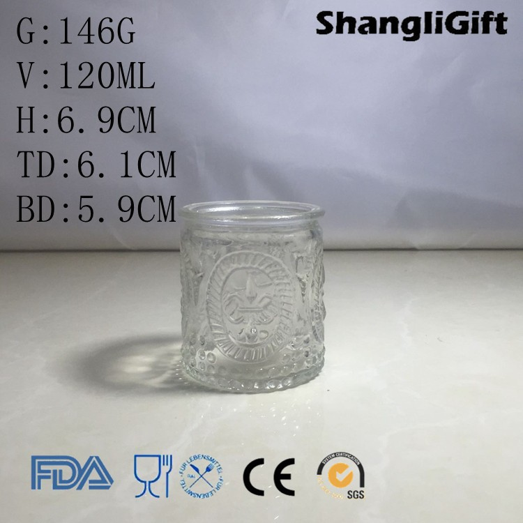 120ml Embossed Water Cup Set Glass Drinking Water Glass