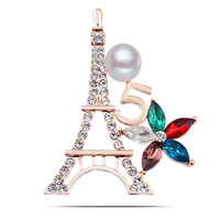 Innovative Design Eiffel Tower Letter 5 Crystal Flower Multi Fashion Elements Brooch Pins For Young Lady