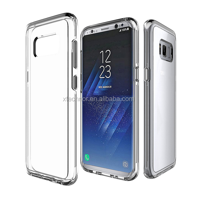 Hot selling soft tpu bumper hard pc crystal transparent case for samsung galaxy s8