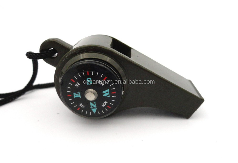 3 in 1 Survival Compass/Whistle/Thermometer, Plastic Camping Outdoor Hiking Whistle with Lanyard OEM Orders Accepted