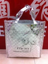 Custom made metallic laminated non woven silver tote bag