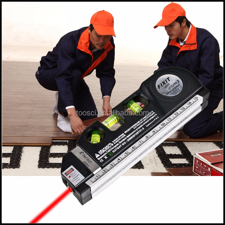 2017 New Laser Level Horizon Vertical Measure 8FT Aligner Standard and Metric Ruler Multipurpose Measure Level Laser Black