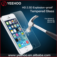 high clear 0.33mm anti-scratch tempered glass screen protector for iphone 5 5s SE