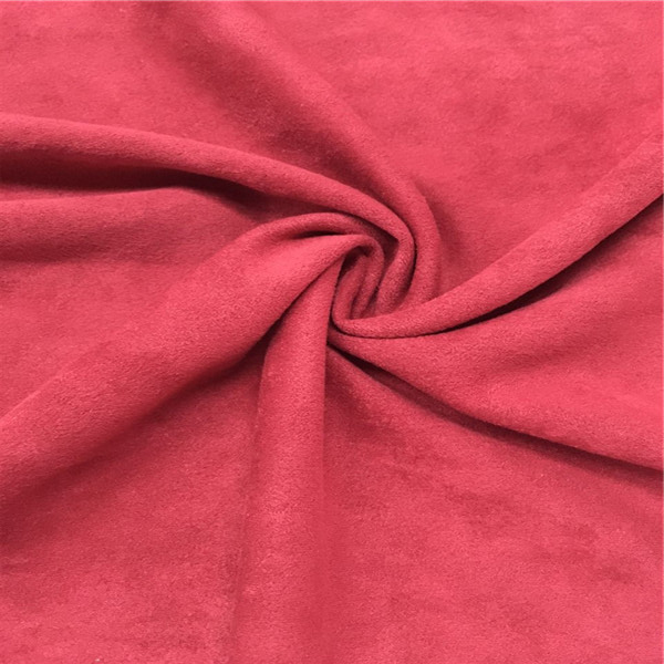 China Wholesale 4 Way Stretch Fabric Weft Knitted MicroFiber Red Faux Suede