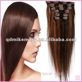Best quality Brazilian human hair clip-in extension light brown color