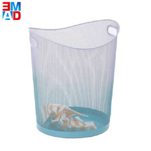 Office round blue decorative metal mesh waste paper trash basket with handle rubbish bin