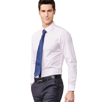 cheap wholesale new design long sleeve white CVC formal dress shirts